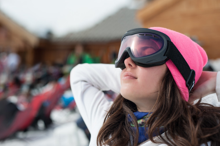 Woman in Ski Goggles Dreaming